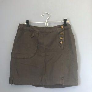 Anthropologie Maeve Army Green mini Skirt